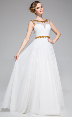 A-Line/Princess Scoop Neck Floor-Length Chiffon Tulle Prom Dress With Ruffle Beading Sequins (018051162)