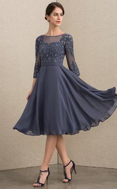 Corte A Decote redondo Coquetel Tecido de seda Renda Vestido para a mãe da noiva com Beading lantejoulas (008152149)