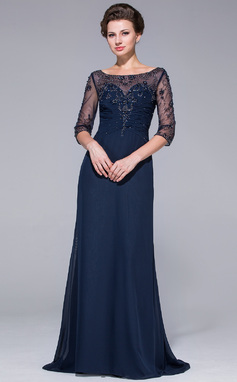 A-Line/Princess Scoop Neck Sweep Train Chiffon Mother of the Bride Dress With Beading Sequins (008025695)