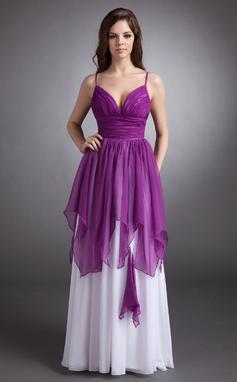 Vestidos princesa/ Formato A Coração Longos De chiffon Vestido de Férias com Babados em cascata (020016244)