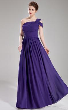 Forme Princesse Encolure asymétrique Longueur ras du sol Mousseline Robe de soirée avec Plissé (017039546)