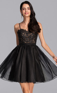 A-Line V-neck Short/Mini Organza Homecoming Dress With Beading Sequins (022206516)