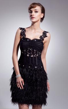 A-Linie/Princess-Linie Herzausschnitt Knielang Tüll Federn Cocktailkleid mit Rüschen Perlen verziert Applikationen Spitze (016008540)