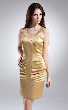 Платье-чехол Круглый Мини-платье Атлас Коктейльные Платье (016015634)