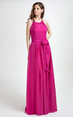 Vestidos princesa/ Formato A Cabresto Longos De chiffon Vestido de Férias com Pregueado (020015819)