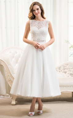 Ball-Gown Scoop Neck Tea-Length Tulle Lace Wedding Dress With Beading Sequins (002054369)