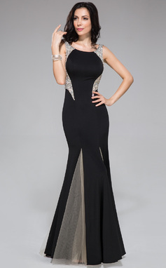 Trumpet/Mermaid Scoop Neck Sweep Train Tulle Jersey Prom Dress With Beading Sequins (018044959)
