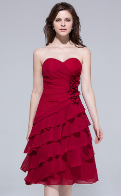 A-Line/Princess Sweetheart Knee-Length Chiffon Bridesmaid Dress With Flower(s) Cascading Ruffles (007037263)