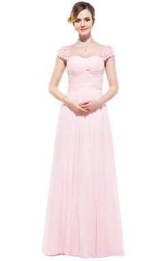 Vestidos princesa/ Formato A Coração Longos De chiffon Vestido de festa com Pregueado Bordado fecho de correr (017045215)