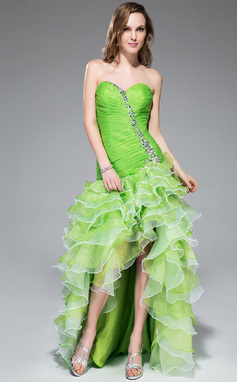 A-Line/Princess Sweetheart Asymmetrical Organza Prom Dress With Beading Sequins Cascading Ruffles (018043240)