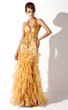 Trumpet/Mermaid Halter Floor-Length Charmeuse Organza Prom Dress With Beading Cascading Ruffles (018135251)