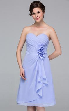 A-linjainen/Prinsessa Kullanmuru Polvipituinen Sifonki Morsiusneitojen mekko jossa Kukka(t) Laskeutuva röyhelö (007037215)