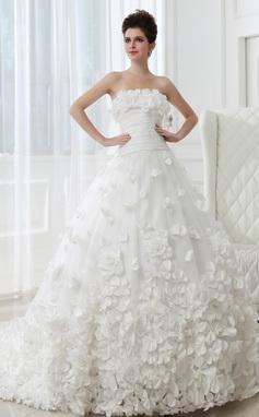 Платье для Балла Без лямок Собор поезд Тафта Тюль Свадебные Платье с Рябь Цветы (002026594)
