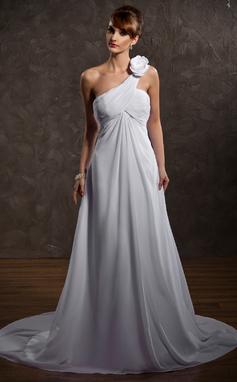 Empire One-Shoulder Court Train Chiffon Wedding Dress With Ruffle Flower(s) (002000574)