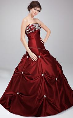 Duchesse-Linie Trägerlos Bodenlang Taft Quinceañera Kleid (Kleid für die Geburtstagsfeier) mit Perlen verziert Applikationen Spitze Pailletten (021020630)