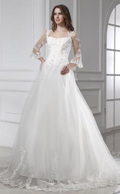 Forme Marquise Encolure carrée Traîne mi-longue Tulle Robe de mariée avec Dentelle (002015458)