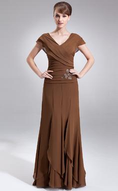 A-Line/Princess V-neck Floor-Length Chiffon Mother of the Bride Dress With Beading Cascading Ruffles (008006059)
