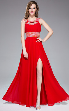 A-Line/Princess Scoop Neck Floor-Length Chiffon Prom Dress With Ruffle Beading Sequins Split Front (018047240)