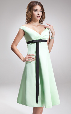 Empire Off-the-Shoulder Knee-Length Satin Bridesmaid Dress With Ruffle Sash Bow(s) (007001474)