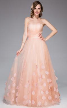 A-Linie/Princess-Linie Trägerlos Bodenlang Tüll Festliche Kleid mit Rüschen Blumen (018047257)