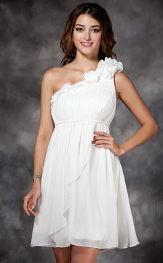Empire One-Shoulder Short/Mini Chiffon Bridesmaid Dress With Ruffle Flower(s) (007051851)