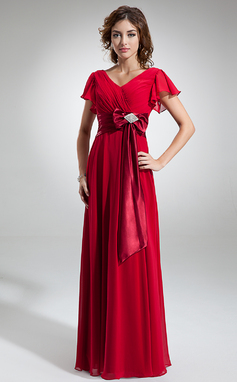 A-Line/Princess V-neck Floor-Length Chiffon Mother of the Bride Dress With Crystal Brooch Bow(s) Cascading Ruffles (008006323)