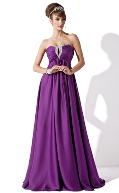 Empire Sweetheart Floor-Length Satin Chiffon Evening Dress With Ruffle Beading (017013795)