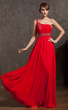 A-Line/Princess One-Shoulder Floor-Length Chiffon Holiday Dress With Ruffle Beading Appliques Lace (020025953)
