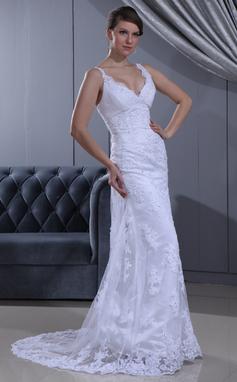 Etui-Linie V-Ausschnitt Sweep/Pinsel zug Spitze Brautkleid mit Rüschen Perlen verziert (002011630)