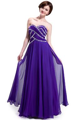Corte A/Princesa Escote corazón Hasta el suelo Chifón Vestido de baile de promoción con Volantes Bordado (018025299)