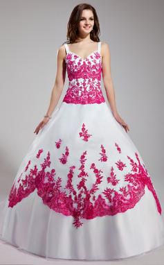 Платье для Балла V-образный Длина до пола Органза Пышное платье с Вышито развальцовка блестки (021003113)