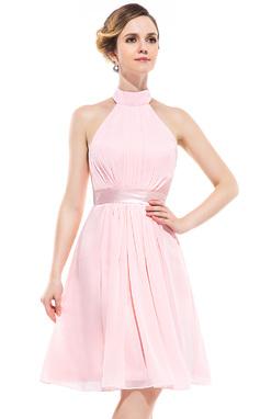 Vestidos princesa/ Formato A Cabresto Coquetel De chiffon Vestido de madrinha com Pregueado (007051370)