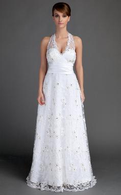 A-formet/Prinsesse Grime Gulvlengde Blonder Brudekjole med Frynse Perlebesydd (002015721)