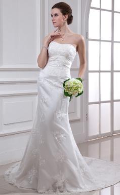 Forme Sirène/Trompette Bustier en coeur Traîne mi-longue Satiné Robe de mariée avec Emperler Motifs appliqués Dentelle (002000186)