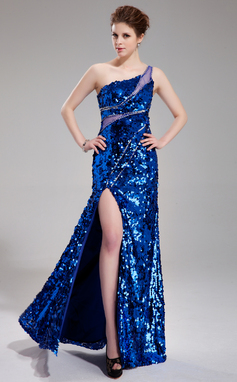 Sheath/Column One-Shoulder Floor-Length Tulle Sequined Prom Dress With Beading Split Front (018019689)