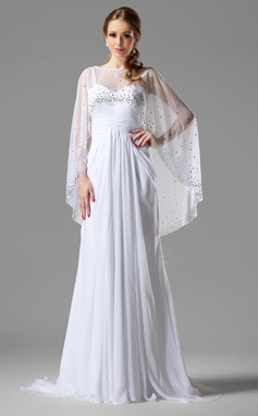 Forme Princesse Bustier en coeur Balayage/Pinceau train Mousseline Robe de soirée avec Plissé (017022540)