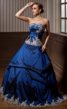 Платье для Балла Без лямок Длина до пола Тафта Пышное платье с Вышито Рябь развальцовка (021003128)