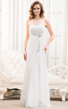 A-Line/Princess Sweetheart Floor-Length Chiffon Wedding Dress With Ruffle Beading Sequins (002054622)
