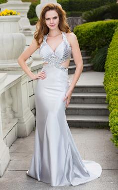 Trumpet/Mermaid V-neck Sweep Train Charmeuse Prom Dress With Beading (018024668)
