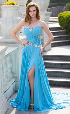 A-Line/Princess Sweetheart Court Train Chiffon Prom Dress With Ruffle Beading Split Front (018024650)