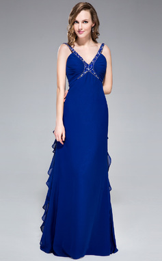 Empire V-neck Floor-Length Chiffon Evening Dress With Beading Sequins Cascading Ruffles (018046250)