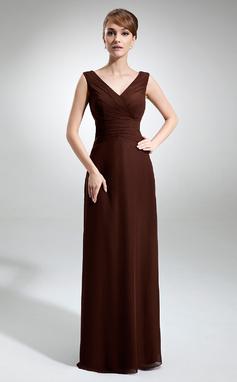 A-Line/Princess V-neck Floor-Length Chiffon Bridesmaid Dress With Ruffle (007001832)