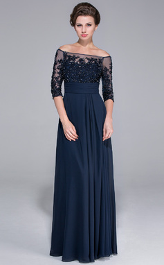 A-Line/Princess Off-the-Shoulder Floor-Length Chiffon Mother of the Bride Dress With Beading Appliques Lace Sequins (008025450)