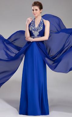 A-Line/Princess Halter Floor-Length Chiffon Prom Dress With Beading (018018890)