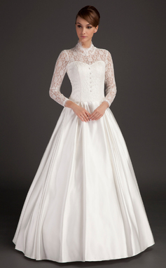A-Line/Princess High Neck Floor-Length Satin Wedding Dress (002015488)