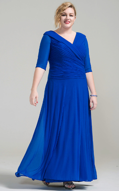 A-Line/Princess V-neck Ankle-Length Jersey Mother of the Bride Dress With Ruffle (008077020)