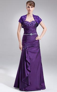 Trompete/Sereia Coração Longos Tafetá Vestido para a mãe da noiva com Renda Bordado Babados em cascata (008005576)