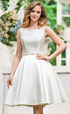 A-Line/Princess Scoop Neck Knee-Length Satin Wedding Dress With Beading Sequins (002052770)