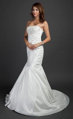 Trumpet/Mermaid Strapless Court Train Taffeta Wedding Dress With Ruffle Beading (002015352)