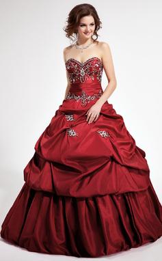 Платье для Балла возлюбленная Собор поезд Съемный Тафта Пышное платье с Вышито Рябь развальцовка блестки (021003122)